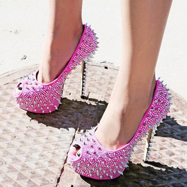 Women's Fuchsia Rhinestone Rivets Stripper Heels Pumps image 1