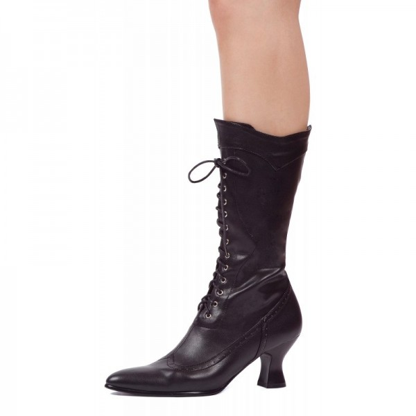 Black Wingtip Boots Pointy Toe Lace up Mid Calf Halloween Witch Boots image 1