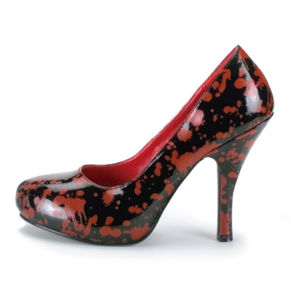 Women's Vampire Black and Red Floral Heels Low Cut Upper Pumps image 1