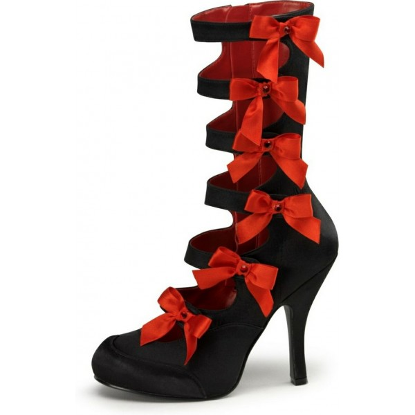 Black and Red Mid-calf Gladiator Heels Vampire Vintage Pumps with Bow image 1