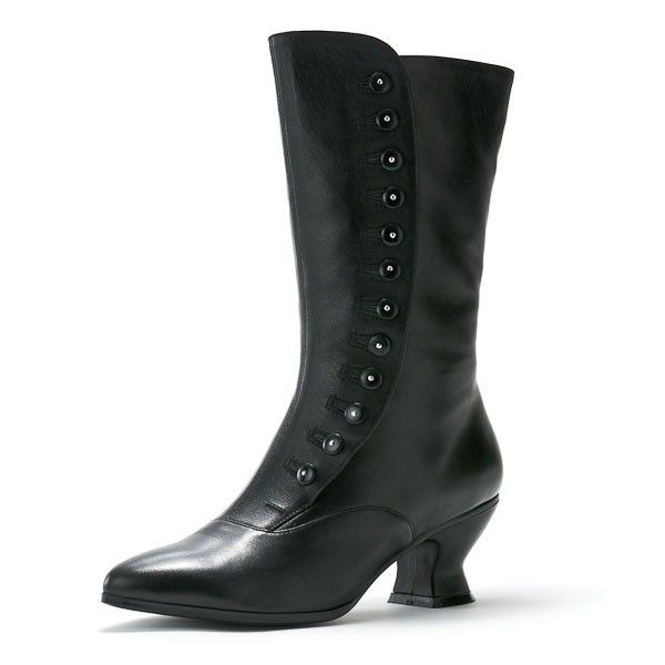 Women's Black Witch Costumes Halloween Button Mid-calf Spool Chunky Heel Boots image 1