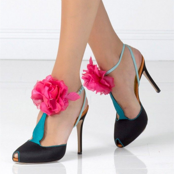 Black And Blue T Strap Sandals Peep Toe Stiletto Heels With Flowers image 1