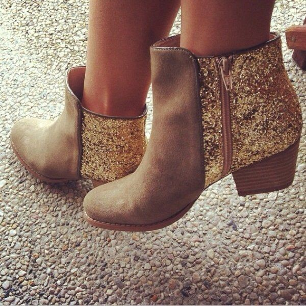 Gold and Tan Glitter Boots Round Toe Wooden Chunky Heel Ankle Boots image 1