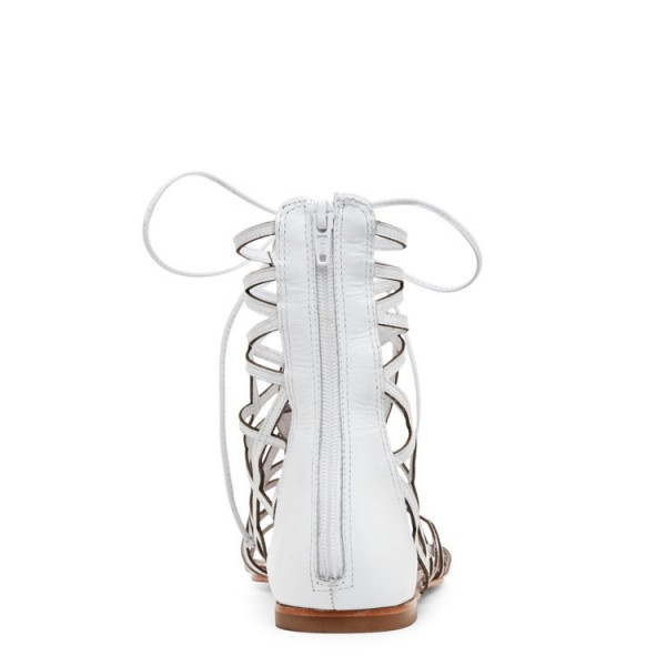 Women's White Gladiator Sandals Hollow out Lace up Flats Size US 4-15 image 2