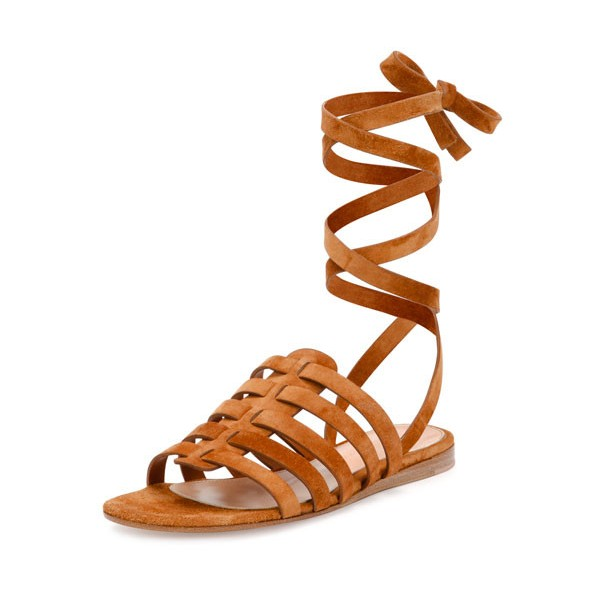 Tan Flats Gladiator Sandals Suede Strappy Summer Sandals image 1