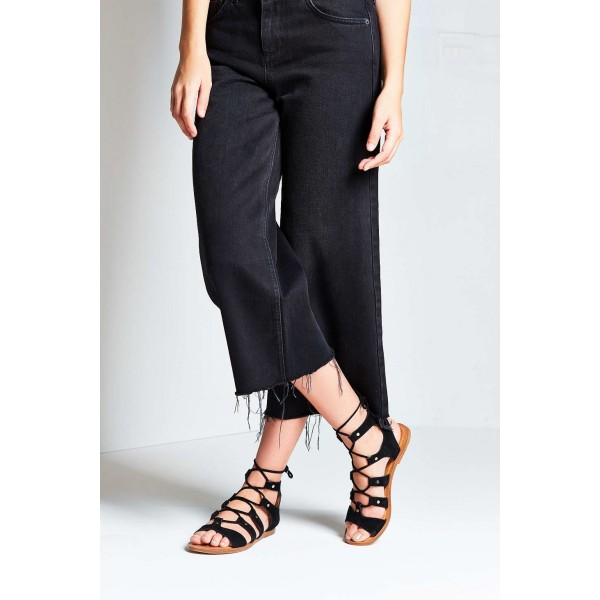 Black Gladiator Sandals Suede Lace up Flats Comfortable Shoes image 6