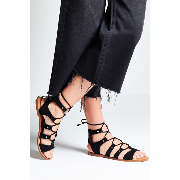 Black Gladiator Sandals Suede Lace up Flats Comfortable Shoes image 3