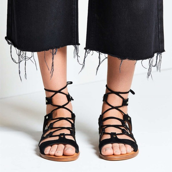 Black Gladiator Sandals Suede Lace up Flats Comfortable Shoes image 1