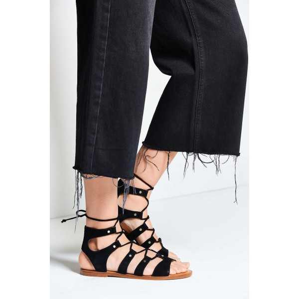 Black Gladiator Sandals Suede Lace up Flats Comfortable Shoes image 2
