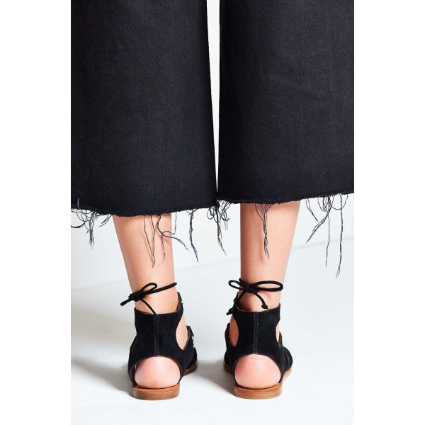 Black Gladiator Sandals Suede Lace up Flats Comfortable Shoes image 5