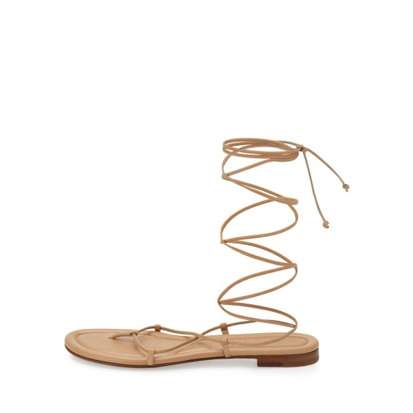 Women's Apricot Color Strappy Flat Gladiator Sandals image 2