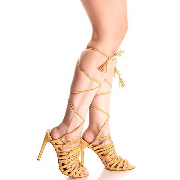 Ginger Lace up Gladiator Heels Sandals Open Toe Strappy Sandals image 2