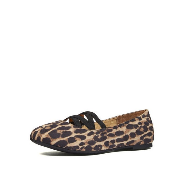 Women's Brown Round Toe Suede Leopard-print Flats image 1