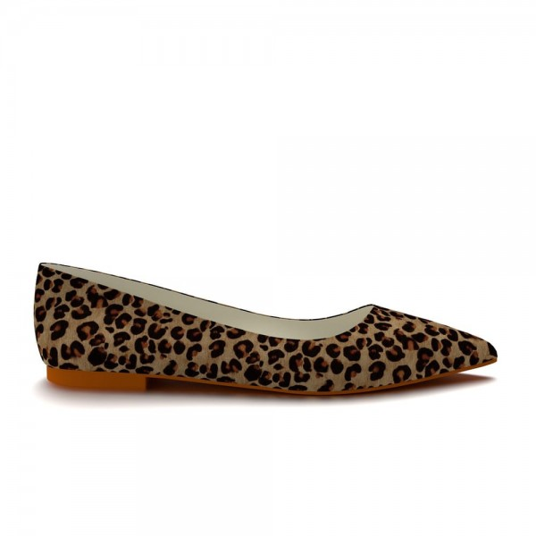 Leopard Print Flats Pointy Toe Suede Vegan Shoes US Size 3-15 image 2