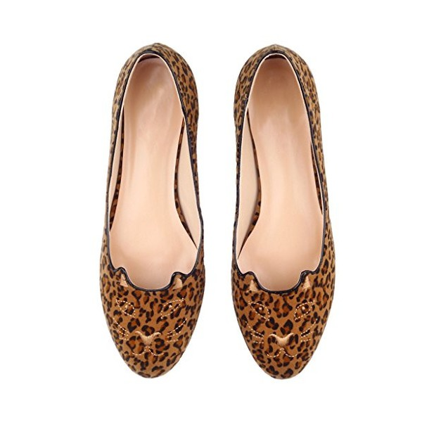 Women's Brown Suede Leopard Print Flats Round Toe Comfortable Shoes image 4