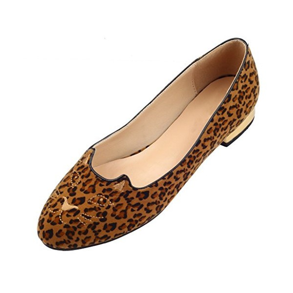 Women's Brown Suede Leopard Print Flats Round Toe Comfortable Shoes image 1