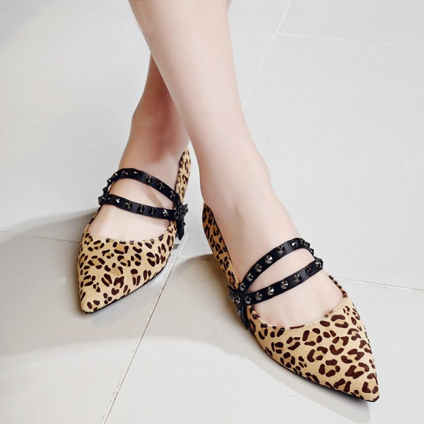 Leopard Print Flats Pointy Toe Studs Shoes  image 4