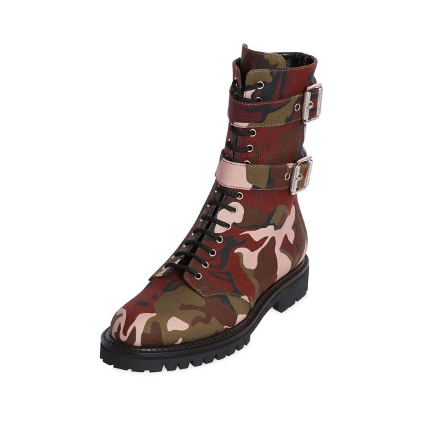 Camouflage Combat Boots Lace up Mid-calf Boots with Buckles image 1