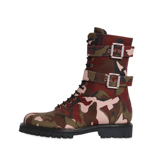 Camouflage Combat Boots Lace up Mid-calf Boots with Buckles image 3