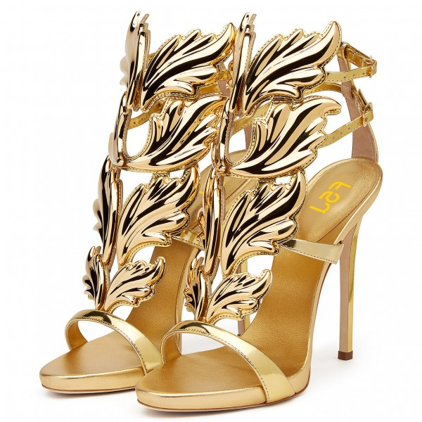Gold Evening Shoes Luxury Metallic Heels Stiletto Sandals for Party image 1