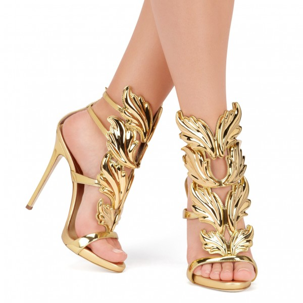 Gold Evening Shoes Luxury Metallic Heels Stiletto Sandals for Party image 2