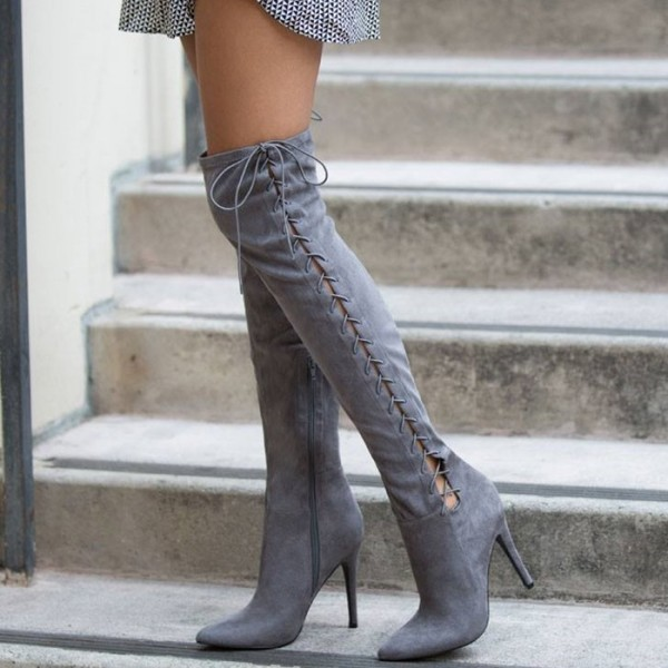 Grey Long Boots Suede Side Thigh High Lace Up Boots image 1