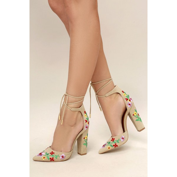 Beige Strappy Sandals Floral Suede Closed Toe Block Heels image 1