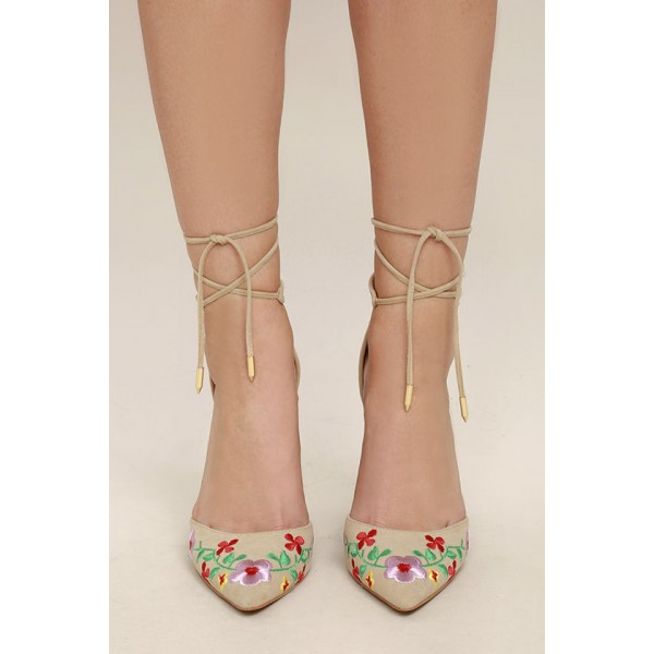 Beige Strappy Sandals Floral Suede Closed Toe Block Heels image 2