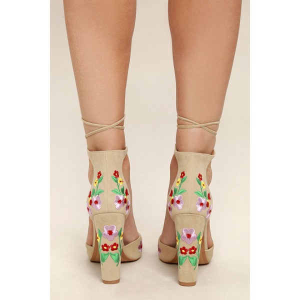 Beige Strappy Sandals Floral Suede Closed Toe Block Heels image 3