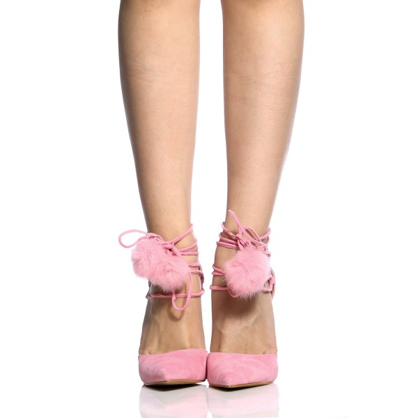 Pink Pom Pom Shoes Lace up Strappy Stiletto Heel Cute Pumps image 2