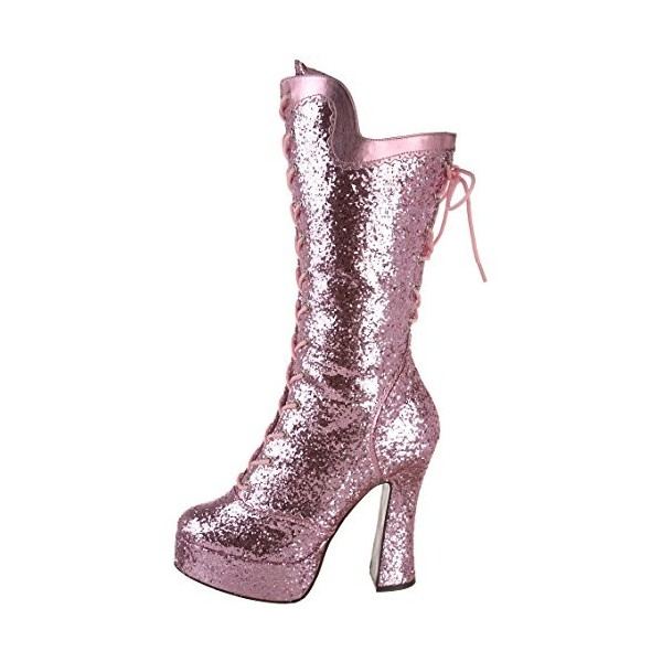 Pink Stripper Shoes Glitter Platform Lace up Mid-calf Boots image 5