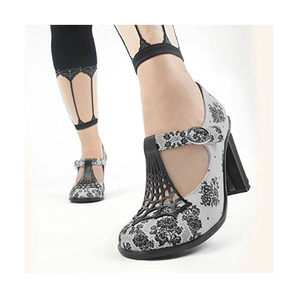 Women's Grey Spider Web Mary Jane Pumps Vintage Heels image 2