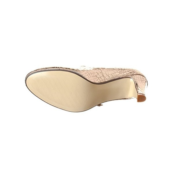 Champagne Sparkly Heels Mary Jane Pumps Python Vintage Shoes for Women image 3