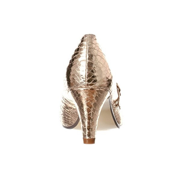 Champagne Sparkly Heels Mary Jane Pumps Python Vintage Shoes for Women image 2