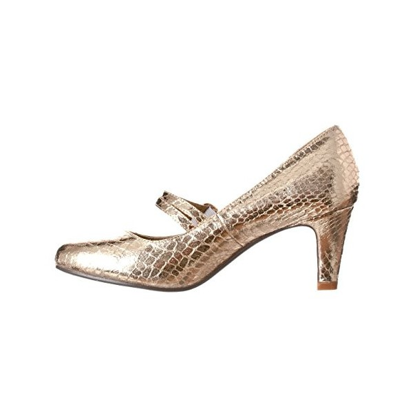 Champagne Sparkly Heels Mary Jane Pumps Python Vintage Shoes for Women image 4