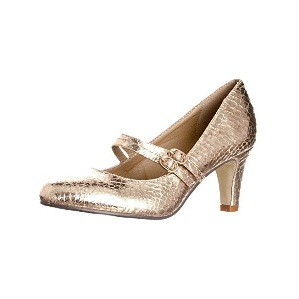 Champagne Sparkly Heels Mary Jane Pumps Python Vintage Shoes for Women image 1