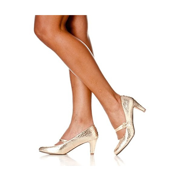Champagne Sparkly Heels Mary Jane Pumps Python Vintage Shoes for Women image 5