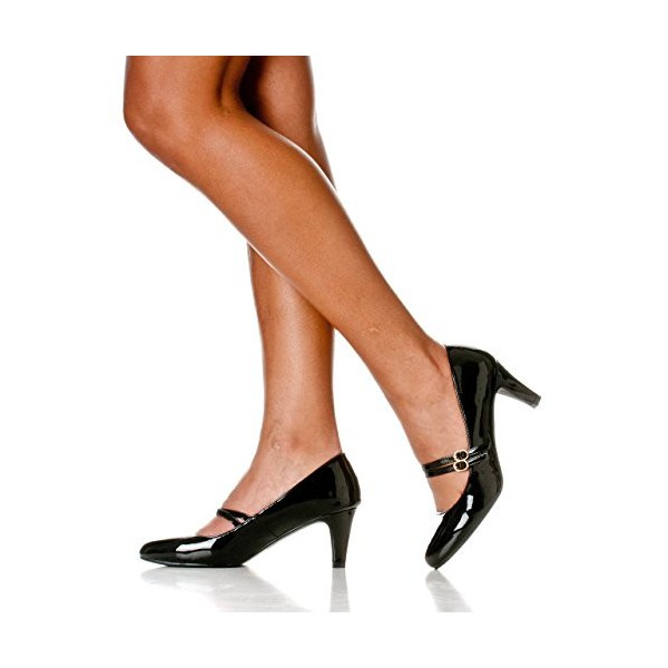Black Mid Heel Women's Mary Jane Pumps Vintage Heels image 2