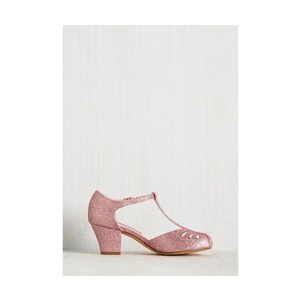 Women's Pink Girlish Glitter T-Strap Shoes Chunky Heels Vintage Shoes image 2