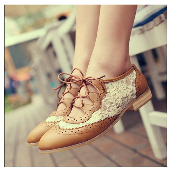 Brown Lace Women's Oxfords Vintage Shoes Lace-up Comfortable Flats image 1