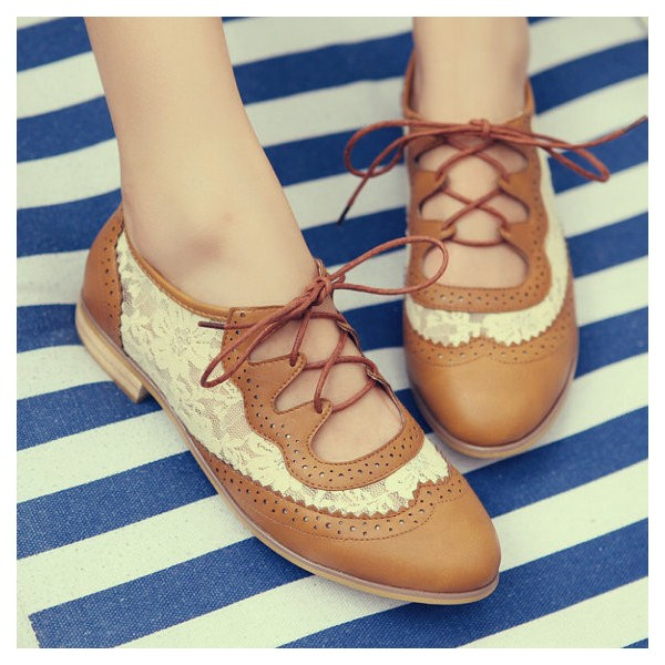 Brown Lace Women's Oxfords Vintage Shoes Lace-up Comfortable Flats image 2