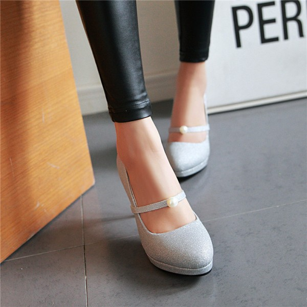 Women's Silver Mary Jane Pumps Vintage Retro Round Toe Shoes image 2