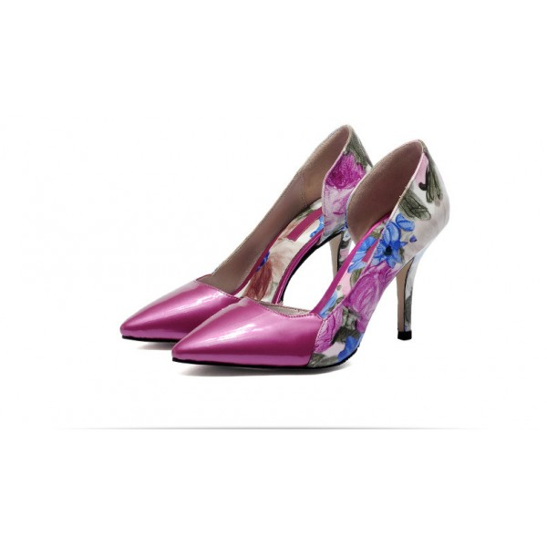 Orchid Floral Heels Pointy Toe Stiletto Heel D'orsay Pumps image 2