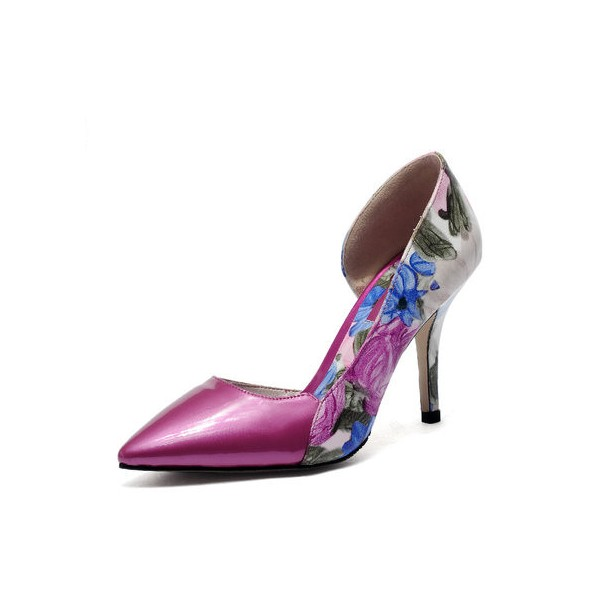 Orchid Floral Heels Pointy Toe Stiletto Heel D'orsay Pumps image 1
