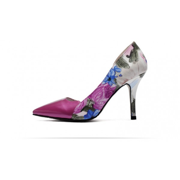 Orchid Floral Heels Pointy Toe Stiletto Heel D'orsay Pumps image 3
