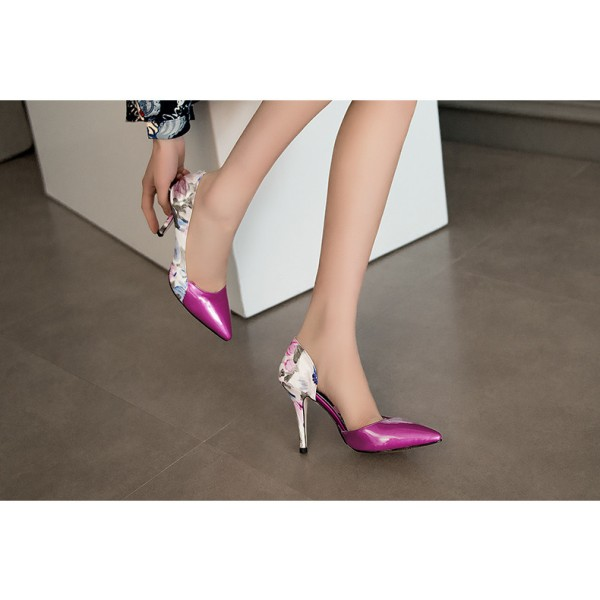 Orchid Floral Heels Pointy Toe Stiletto Heel D'orsay Pumps image 4