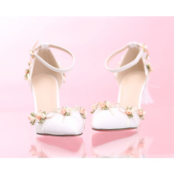 White Wedding Shoes Lace Satin Stiletto Heels Tassels Ankle Strap Pumps image 2