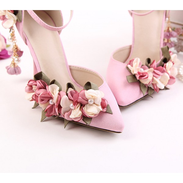 Pink Wedding Heels Ankle Strap Floral Closed Toe Sandals for Bridesmaid image 6