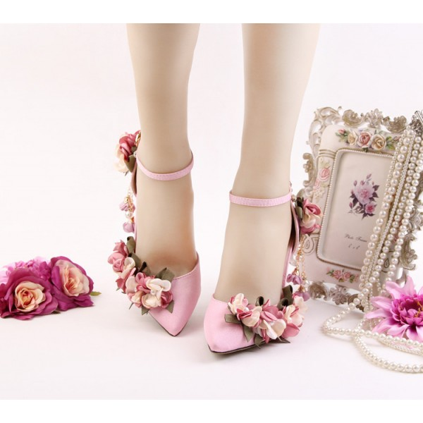 Pink Wedding Heels Ankle Strap Floral Closed Toe Sandals for Bridesmaid image 5