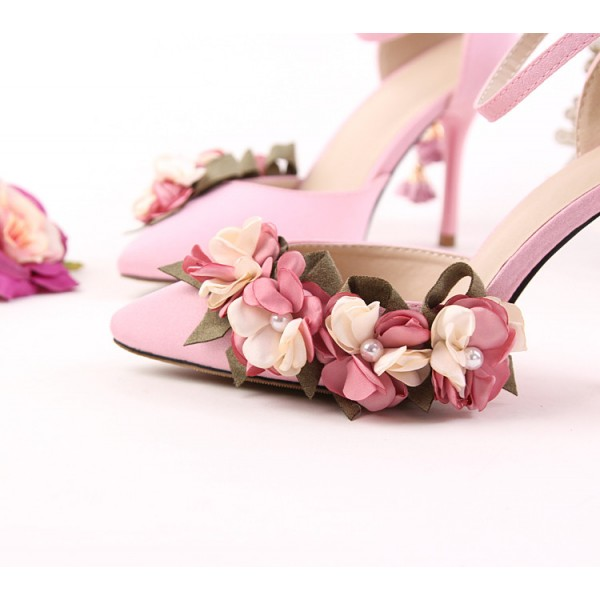 Pink Wedding Heels Ankle Strap Floral Closed Toe Sandals for Bridesmaid image 4